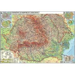 Harta fizica, administrativa si a substantelor minerale utile Romania si Republica Moldova