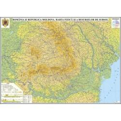Harta fizica a Romaniei si Republicii Moldova