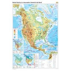 America de Nord: Harta fizico-geografica si a principalelor resu