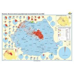 Harta Romania. Structura etnica a populatiei dupa recensamantul din anul 2002