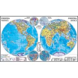 Planiglobul. Harta Emisferelor cu sistem electric de rulare