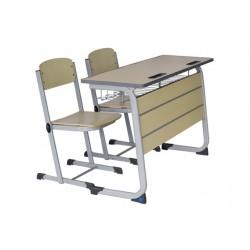 Banca scolara dubla cu 2 scaune-LICEAL